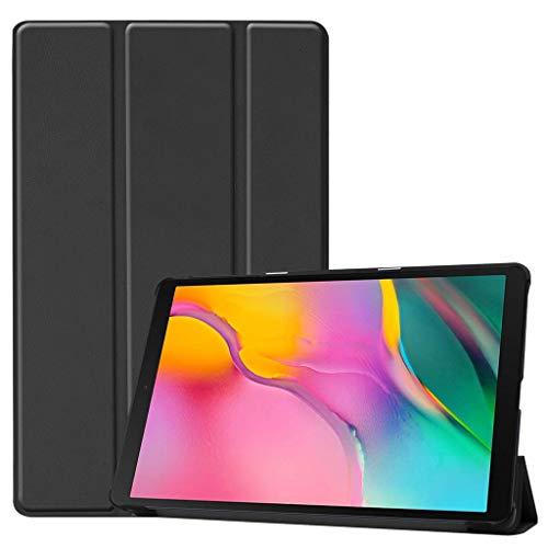 Hülle für Samsung Galaxy Tab A 10.1 SM-T515/T510, Colorful Ultra Slim Lightweight Schutzhülle PU Leder Smart Cover Case mit Auto Wake/Sleep für Samsung Galaxy Tab A 10.1 SM-T515/T510 (Schwarz)