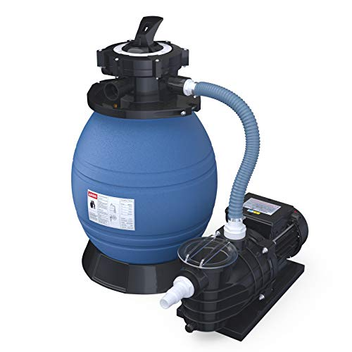 SUNCOO Pro Krystal Clear Sand Filter Pump 2450GPH 13 Inch Tank for 10000GAL Above Ground Pools Swimming Pool Pump w/Sand Filters System & Pressure Gauge