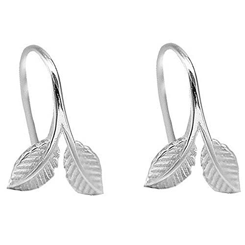 AnXiongStore Pendientes Colgantes de Hojas Irregulares con brotes de Plata esterlina, joyería para Mujer, Regalo de Fiesta de Boda a la Moda
