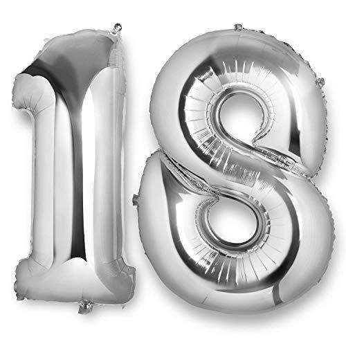Vordas Ballon 18 Ans Géant - Ballons d'Hélium Foil NO.18 XXL Géant Ballon Chiffre pour Anniversaire de Mariage Anniversaire Décoration (Taille: 40 Pouces)