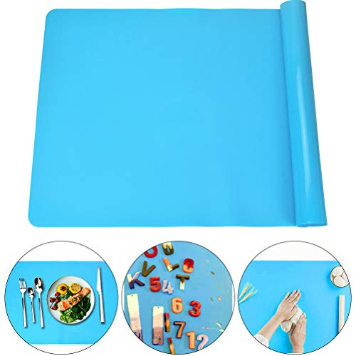 Extra Large Silicone Craft Mat for Kids, Large Silicone Sheet for Crafts, Kitchen Non-Stick Baking Mat, Heat Resistant Countertop Mat, Waterproof Placemat, Multipurpose Mat, Blue (23.62x15.75 inches)