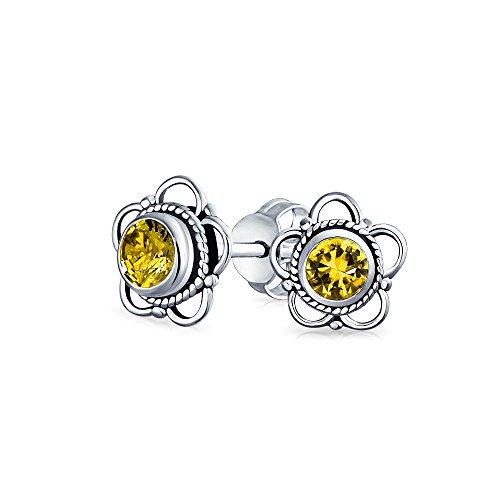Estilo Bali pequeña flor amarillo citrino piedra preciosa pendientes para las mujeres oxidado 925 plata de ley noviembre piedra de nacimient