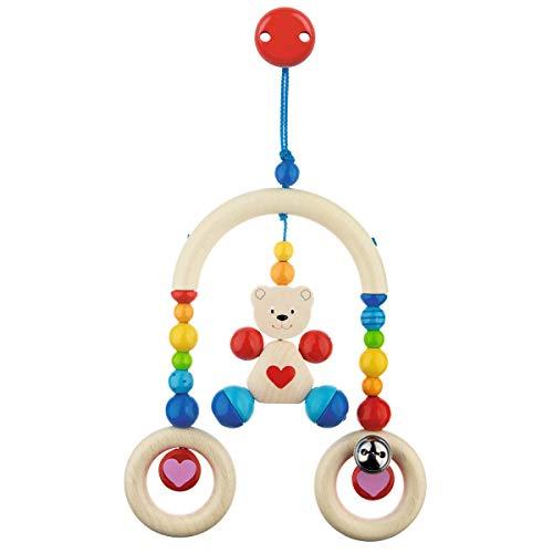 solini Mini-Trapez Teddybär - Baby Holzspielzeug mit bunten Holzelementen & kleiner Glocke - Anreize & Unterhaltung - farbig aus Holz