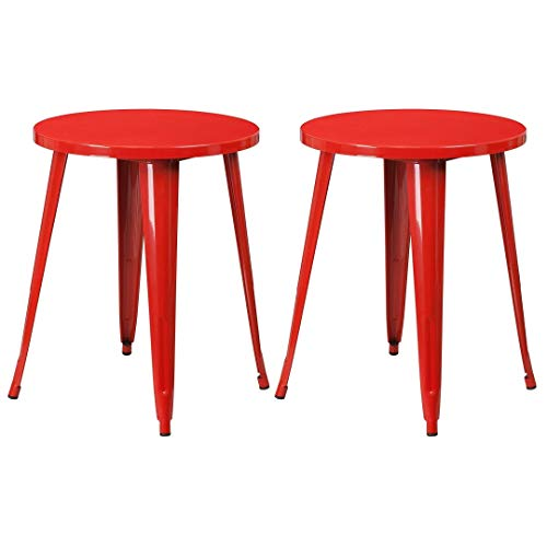 Modern Vintage Style Coffee Bar Dining Table Solid Powder Coated Metal Frame with Extra Stability Braced Indoor Outdoor Home Commercial Furniture - Set of 2 Red #2011
