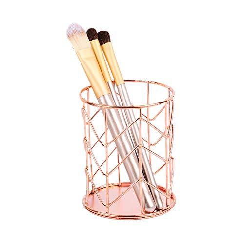 01 Portalápices de Hierro Reutilizable y Duradero, Organizador de bolígrafos para Almacenamiento de Maquillaje, Organizador de Escritorio de Hierro para Cocina(Rose Gold)