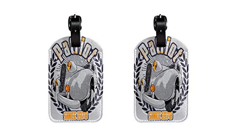 Coches Antiguos Maleta de Etiqueta de Equipaje de Cuero de PU, Correa de Cuero Ajustable Resistente a los arañazos, diseño Elegante Paquete de 2