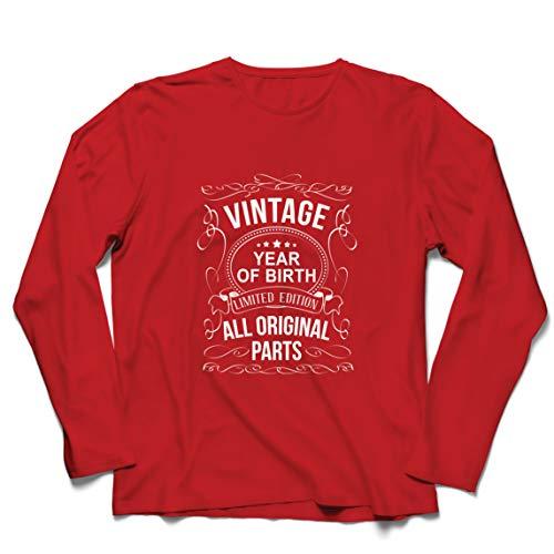 lepni.me Camiseta de Manga Larga para Hombre Año Personalizado Todas Las Piezas Originales Regalo de cumpleaños Vintage (XX-Large Rojo Multicolor)