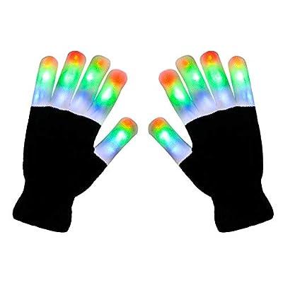 AOQI LED Light Up Gloves, 3 Colors 6 Modes Flashing Glow Finger...