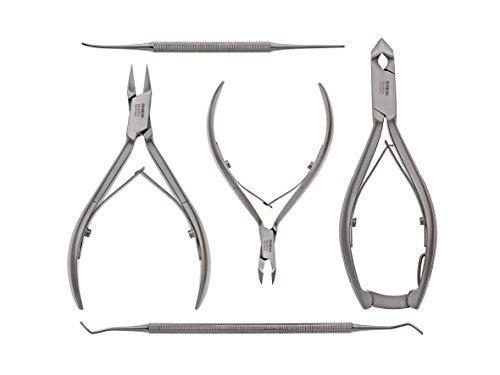 Nagelzange-Podologie Instrumente Set 5-teilig-Nagelzange für starke Fußnägel- Nagelzange/Kopfschneider+Eckenzange+Hautzange+Eckenheber+Eckenfeile-inkl.Schutzkappen