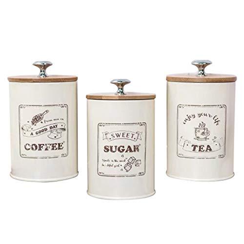 Baoblaze 3pcs Kaffeepaddose, Luftdicht Küche Kanister mit Deckel, Kaffeedose Luftdicht Metall für Kaffeepads Zucker Kaffee Tee Speicher, 9,5x15,5 cm - Beige