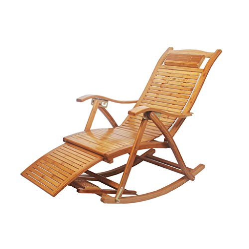 Folding Camping Chair Folding Chair, Lazy Balcony Siesta Folding Bamboo Rocking Chair, Leisure Swing Chair with Foot Massage for The Elderly (Color : Style2)