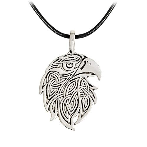 Antique Silver Eagle Head Wolf Head Celtic Cat Pendant Necklace (eagle)