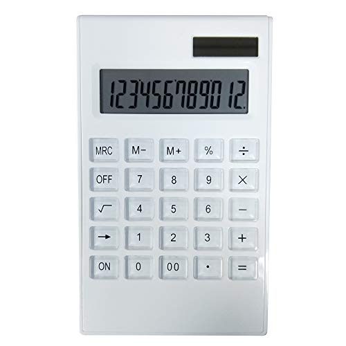 SINLOOG Tischrechner, 12-stelliges großes Display, Solar & Akku Dual Power Basic Taschenrechner, Standardfunktion, elegantes Design für Büro/Zuhause/Schule (weiß)