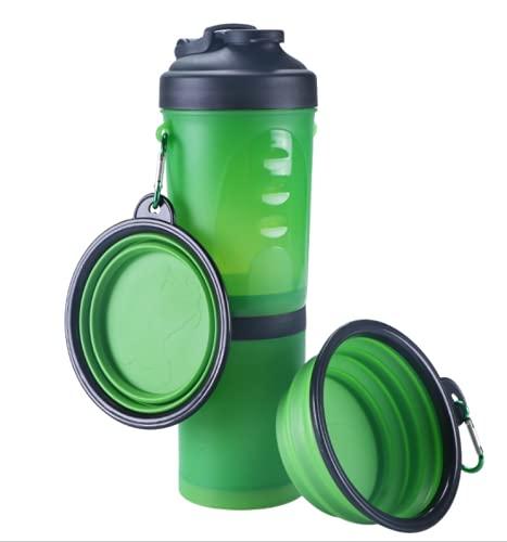 BOENTA Botella para Perros, Dispensador De Agua Plegable para Cachorro Botella Portátil para Mascotas A Prueba De Fugas Green