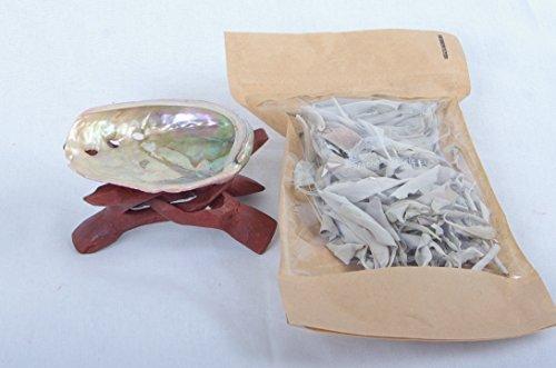 Juego con concha Abalone (5-8 cm) + pequeño trípode de madera de 5,08 cm (una pieza de madera) + bolsa de 10 gr de salvia clúster