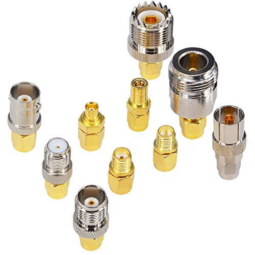 YILIANDUO - Kit adattatore SMA maschio a N/F/BNC/UHF/MCX/SMB/TV/TNC femmina 10 tipi di convertitore test placcato oro nichel per antenna WiFi SMA Software Defined Radios Devices