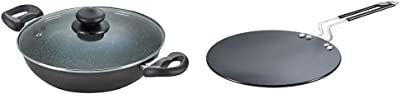 Prestige Omega Deluxe Granite Kadai, 260mm, Black+Prestige Hard Anodised Cookware Induction Base Paratha Tawa, 265mm, Black