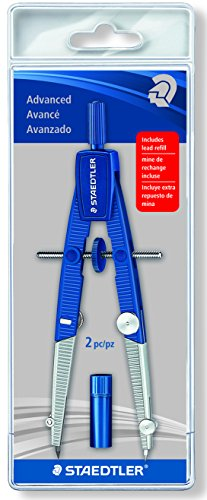 Staedtler 2-Piece Advanced Student Geometrical Compass, Blue, Silver