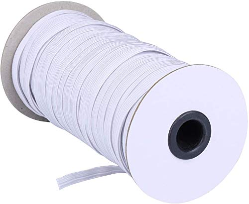 NIKB 1/4 inch Elastic for Sewing White Flat Elastic Bands for Masks /1/4inch Elastic Bands for Masks/Braided Elastic Cord//Elastic Rope/Sewing Elastic (1/4Inch 40-Yards, White)