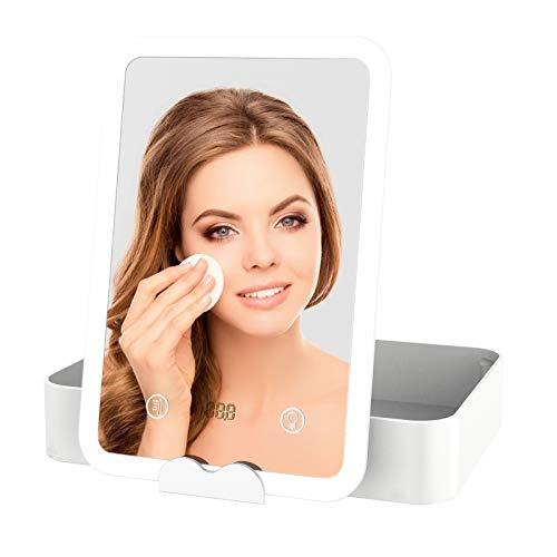 Vokmon Kosmetikspiegel mit LED Licht, Schminkspiegel Beleuchtet mit Blendfreier Bleuchtung für Schminken Rasieren, Makeup Spiegel mit Touchschalter für Dimmbare Helligkeit