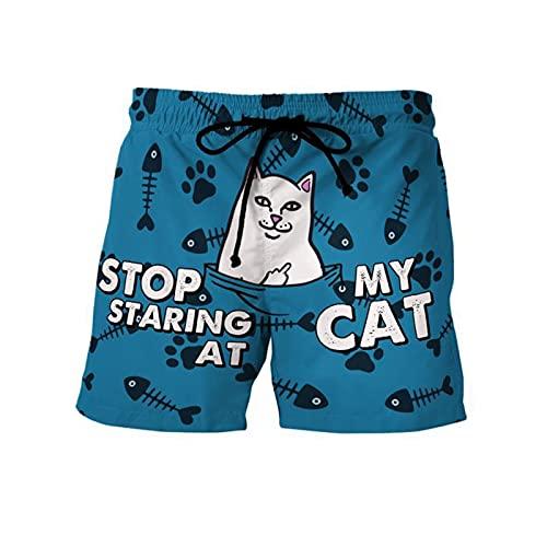 Mikelabo - Pantalones cortos de verano para hombre, pantalones cortos deportivos con cordón, cintura elástica, Gato., 42