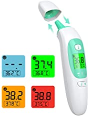 Termometro Infrarrojos, KKmier Termómetro Digitales Médico sin Contacto con Pantalla LCD, Termómetro de frente y oído para Bebé, Adultos, Hospital, ℃ y ℉ Conmutable, Alarma de Fiebre