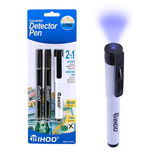 TIHOO Counterfeits Money Detector Pen with UV Light, Money Marker Counterfeit Bill Detector, Fake Bill Detector Pen Checker, 3 Pack