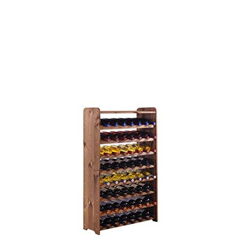 """Weinregal / Flaschenregal System \""""Optiplus\"""" Modell 2 mit Abschlussboard, für 56 Fl., Holzverbundstoff, braun gebeizt"""