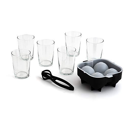 Luminarc Set de 6 Vasos Vidrio Sidra 53cl + Cubitera XXL + Pinza para hielos