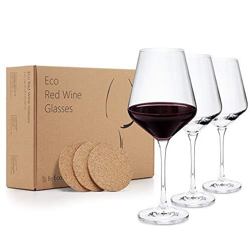 BeEco Rotweingläser groß 480ml | Elegant Rotwein-Kelch mit gezogenem Stiel | Öko Kristallglas Weingläser mit Korkplatten | Wine Glasses 3er Set | Tolles Geschenk