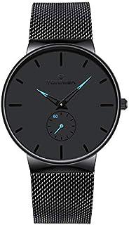 Tonnier - Reloj de cuarzo para hombre, de acero inoxidable, diseño delgado, con manecillas huecas