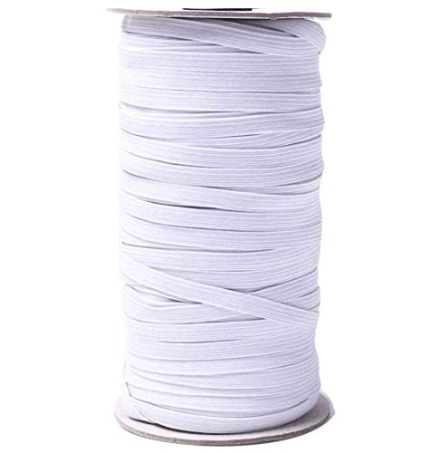 Elastic String Bands Cord Rope Rubber for Sewing Crafts, DIY Mask Making Flat 1/4 inch 6mm (White, 50 Yards)