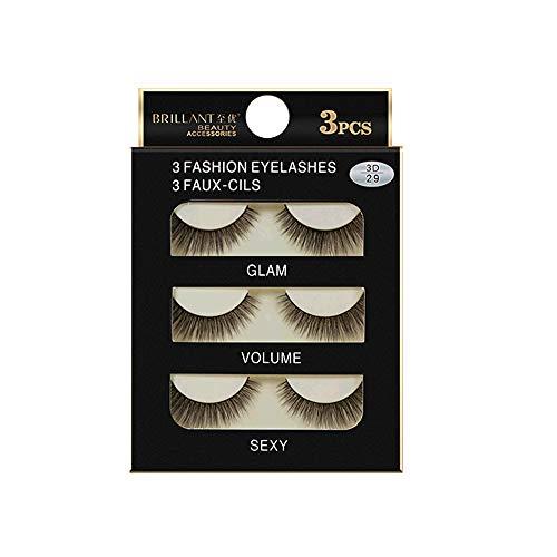 Meclelin Falsche Wimpern 3 Paare Lange 3D Natürliches Aussehen Schwarz Erweiterung Makeup Style