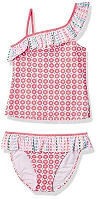 Tommy Bahama Girls' 2-Piece Tankini Swimsuit Bathing Suit Bikini, Coral Asymmetric, 6
