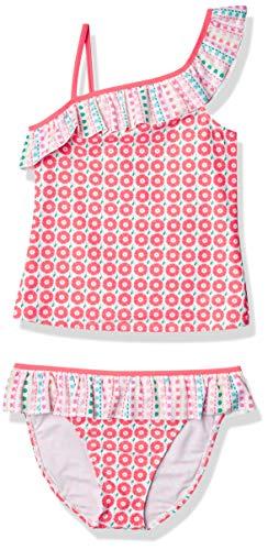 Tommy Bahama Girls' 2-Piece Tankini Swimsuit Bathing Suit Bikini, Coral Asymmetric, 8