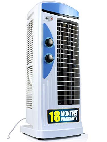 iBELL PLATINUM Tower Fan with 25 Feet Air Delivery, 4-Way Air Flow, High Speed,Anti Rust Body (White and Blue)
