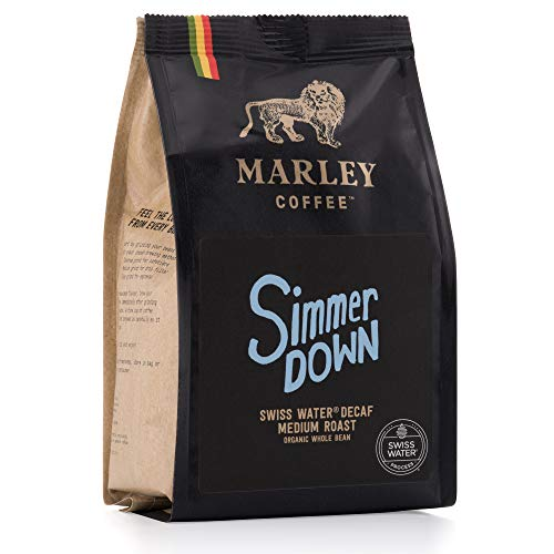 Entkoffeinierter Kaffee Ganze Bohne Bio Organic, Simmed Down Decaffeinated Coffee, Swiss Water Decaf, Marley Coffee, aus der Familie von Bob Marley, 227g Kaffeebohnen Coffee Beans