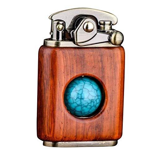CYGG Feuerzeug mit Holzmuster, mittlere Drehkugel, antistatisch, tragbar, Retro-Feuerzeug, für Zuhause und draußen, Geschenk für Männer