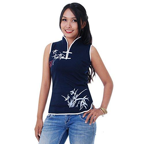 Damen Asia China Yoga,Tai Chi & Meditations Shirt Baumwolle Blau M