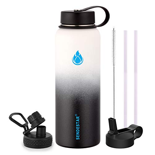 SENDESTAR Stainless Steel Water Bottle2 or 3 Lids18 oz 24oz32 oz40 oz or 64ozDouble Wall Vacuum Insulated Leak Proof Wide Mouth with Straw LidSpout Lid 40 oz 40 oz-DayNight 3 LIDS