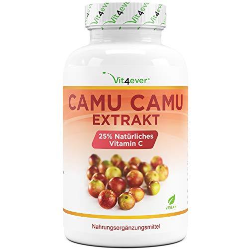 Camu Camu Kapseln - Natürliches Vitamin C - 240 vegane Kapseln für 8 Monate mit 750 mg Extrakt je Kapsel - Laborgeprüft - Ohne unerwünschte Zusätze - Vegan