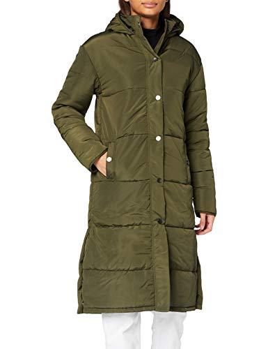 Amazon-Marke: find. Damen Langer Mantel mit Innenfutter, Grün (Khaki), 44, Label: XXL