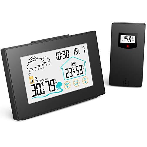 Quntis Wetterstation Funk mit Außensensor, Thermometer Hygrometer Digital Innen und Auße Multifunktionale Funkwetterstation mit Uhrzeitanzeige, Wettervorhersage Wecker und Nachtlicht(Schwarz)