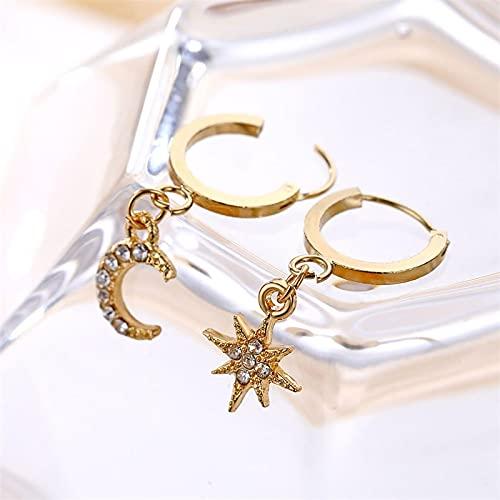 FEARRIN Pendientes Vintage para Mujer, Pendientes Colgantes geométricos clásicos para Mujer, Pendientes asimétricos de Estrella y Luna, joyería Femenina