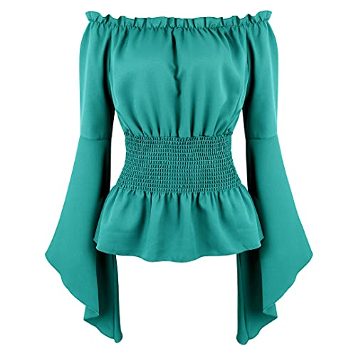 Womens Victorian Renaissance Blouse Gothic Long Sleeve Off Shoulder Shirt Medieval Pirate Costume Shirts Boho Tops Emerald Green Large