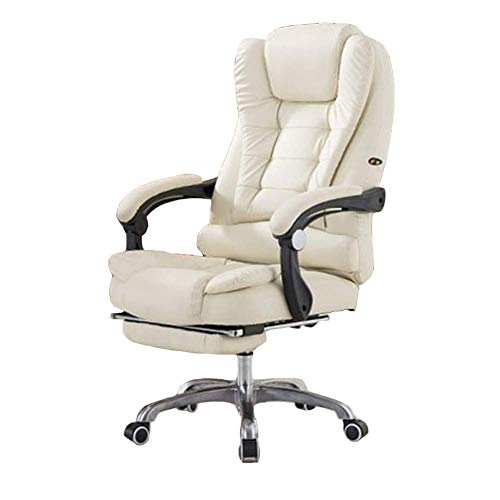 AZD Best Gaming Chairs, Recliner PU Leather Computer Home Office Chair Reclining Boss Gaming Chair, Footrest USB Massage,White