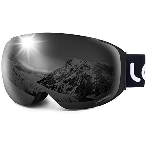 LEMEGO Ski Goggles - Frameless Exclusive 90S Anti-Fog Interchangeable Lens 100% UV400 Protection 10 Magnetic Snow Snowboard Goggles Helmet Compatible for Men & Women & Youth (VLT5.6% Black)