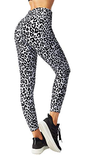 FITTIN Leopard Printed Yoga Leggings for Women with Pocket - for Running Sports Fitness Gym Grey Large