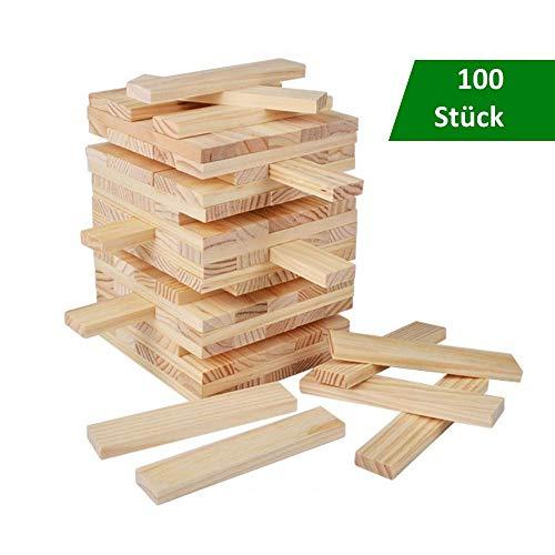 B&Julian® Spielzeug Holzbausteine Holz Bauklötze 100 unbehandelte Holzbaukasten Bauspielzeug Wackelturm für Kinder Baby ab 18 Monate