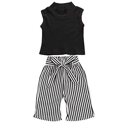 2Pcs Toddler Baby Girls Sleeveless High Neck Tank Tops+Striped Long Pants Kids Summer Outfits Clothes Set (Sleeveless Black, 12-18 Months)